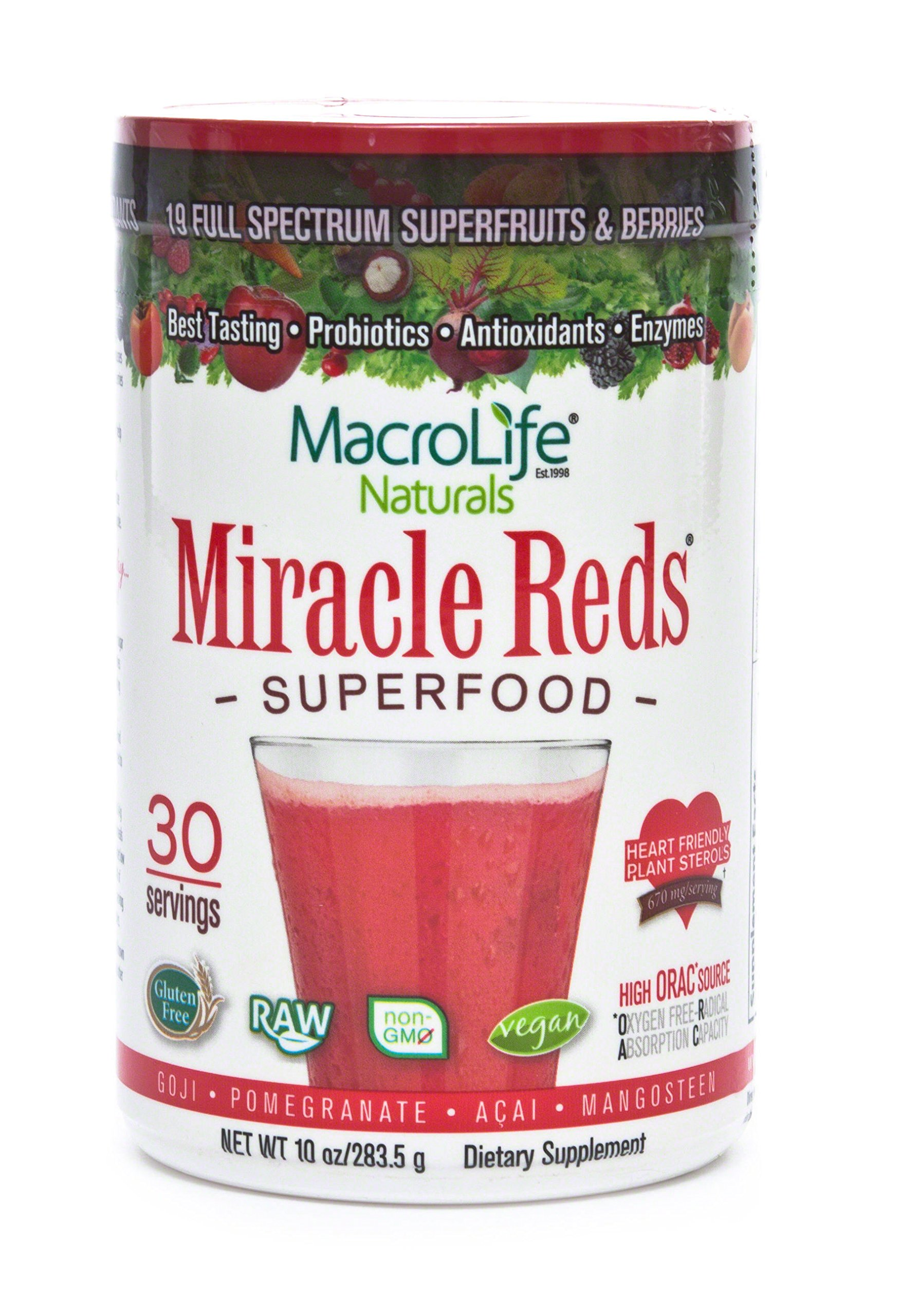 Miracle Reds Raw Organic Superfood| Powerful Gluten Free, Non GMO Fruit & Veggie Drink Powder| Contains List of Vital Reds including Digestive Enzymes, Tumeric, Probiotic, and Goji Berries by MacroLife Naturals