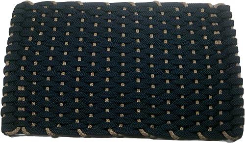 Rockport Rope Doormats 2034304 Indoor Outdoor Doormats, 20 x 34 , Navy Blue with Tan Insert