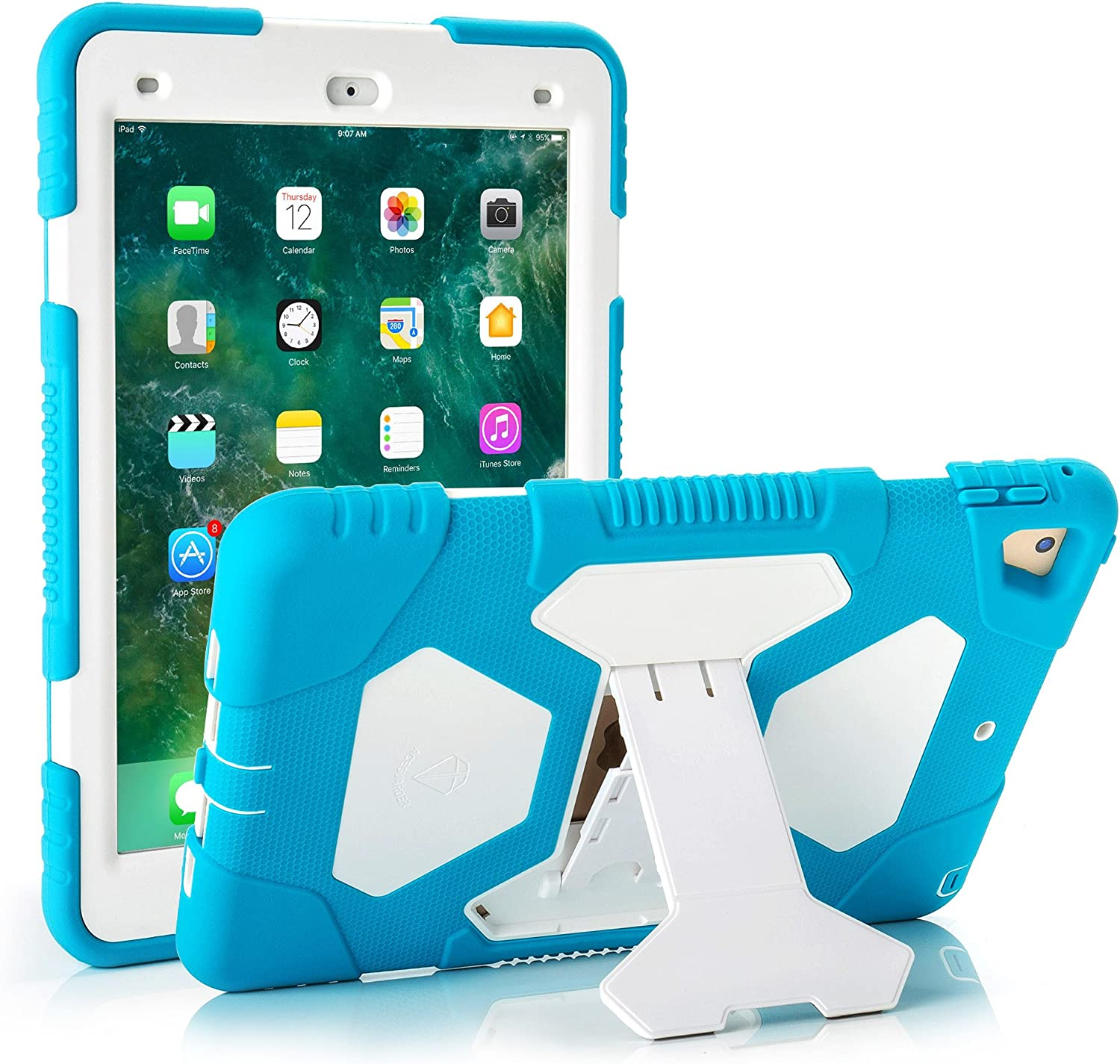 ACEGUARDER iPad 2017/2018 iPad 9.7 inch Case, Shockproof Impact Resistant Protective Case Cover Full Body Rugged for Kids with Kickstand for ipad 5 th/ipad 6 th Generation, Light Blue/White