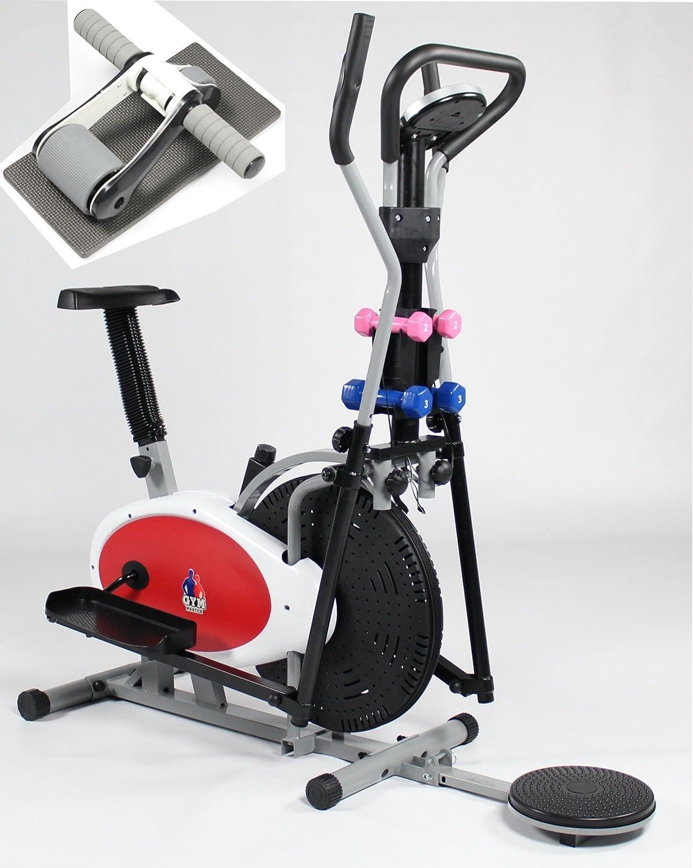 Gym Master 4 en 1 elíptica bicicleta estática y elíptica con AB Twister y mancuernas (plata y negro) – AB Roller en color negro abdominal entrenamiento núcleo con rodilla mate: Amazon.es: Deportes