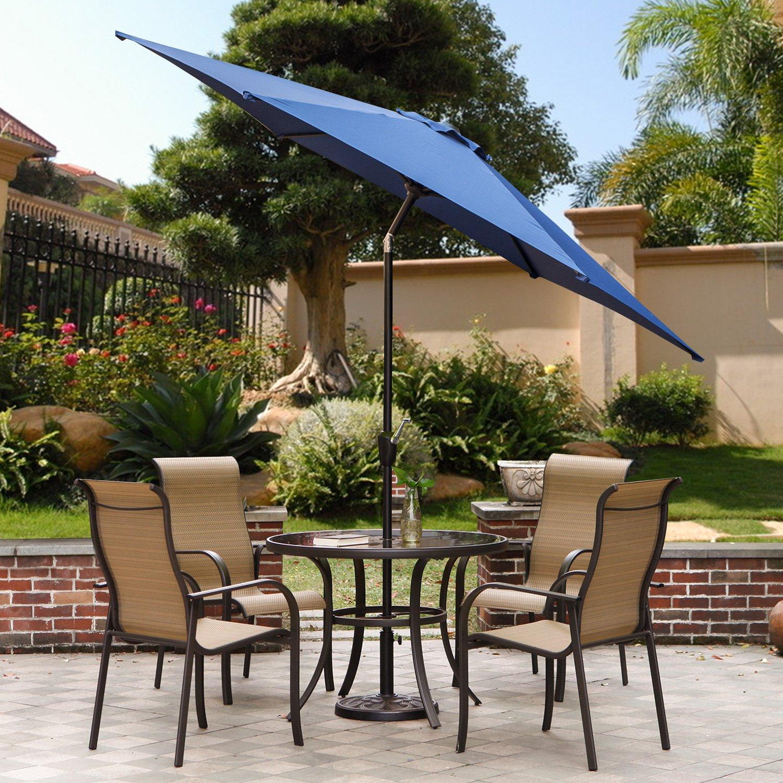 9 Feet Patio Umbrella, Outdoor Market Umbrella with Push Button Tilt and Crank, 6 Ribs, Blue