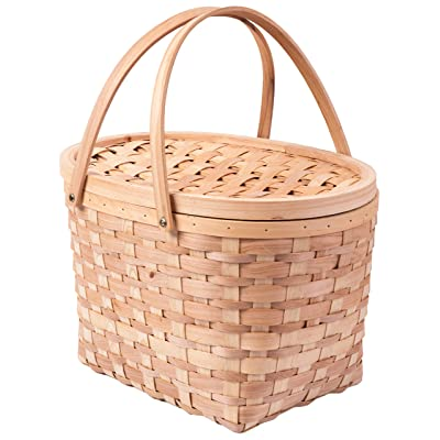 Vintiquewise QI003387 Extra Large Wood-chip Picnic Basket with Cover and Drop Down Handles : Garden & Outdoor
