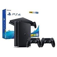 PS4 Slim Console Playstation 4 Noir + 2 Manettes Dualshock PS4 V2