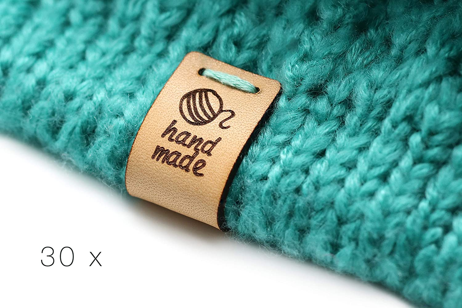 Exclusive Engraved Genuine Italian Leather Tags HMF Customized Text - 15 Pieces Folding Handmade Leather Labels Hand Made Ball of Wool mod