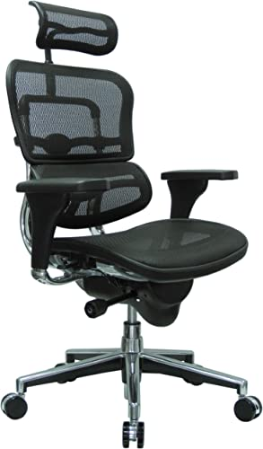 Ergohuman High Back Swivel Chair with Headrest, Black Mesh Chrome Base
