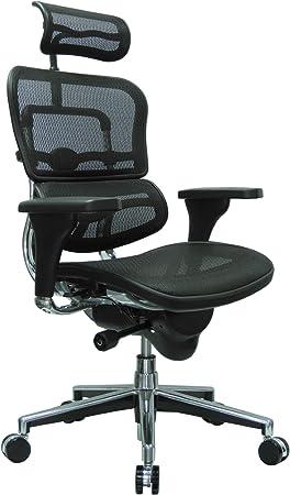 Ergohuman High Back Swivel Chair with Headrest - Contoured Design