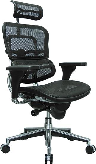 Amazon Com Ergohuman High Back Swivel Chair With Headrest Black Mesh Chrome Base Furniture Decor