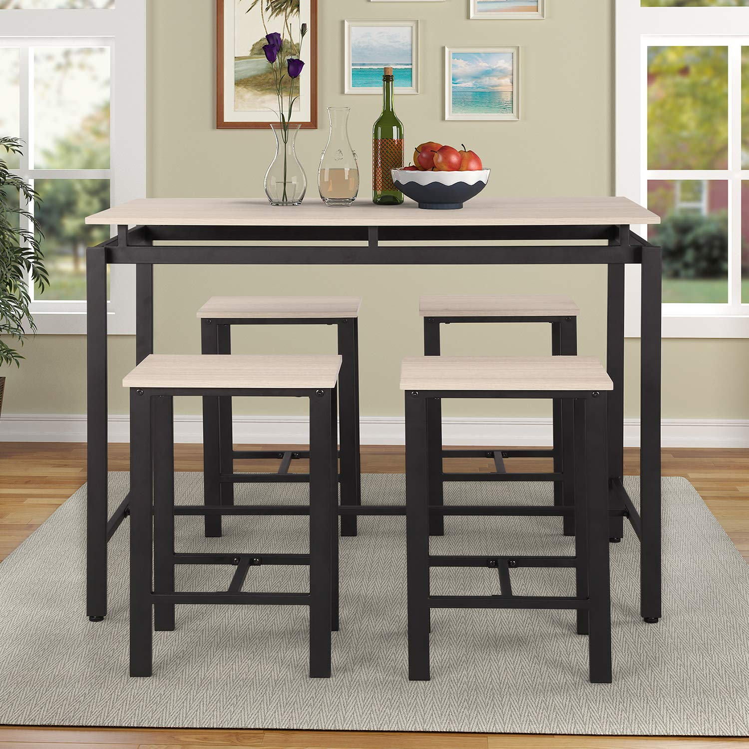 P PURLOVE 5Pcs Dining Table Set Modern Style Wooden Kitchen Table and 4 Chairs with Metal Legs, Beige