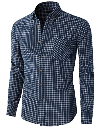 Dress Shirts Mens Stylish Long Sleeve Checkered Plaid Dress Shirt With Patchwork Collar Smart Casual Slim-fit Pure Cotton Button Down Shirts To Enjoy High Reputation In The International Market