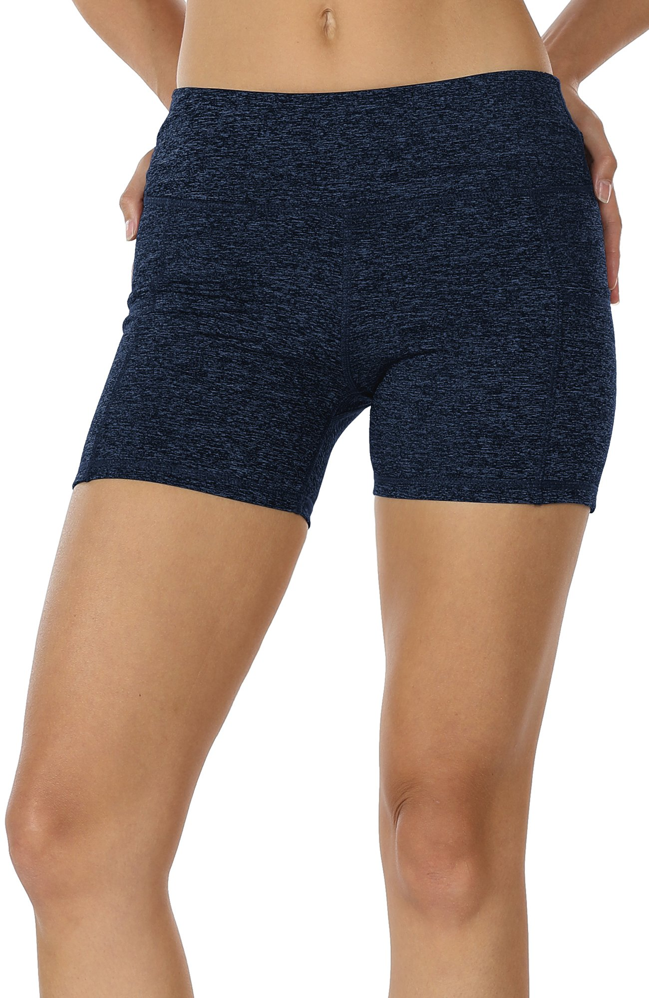 db239d00b029e icyzone Workout Running Shorts for Women - Yoga Exercise Lounge Athletic  Activewear Compression Shorts with Pockets & Drawstring (M, Navy)