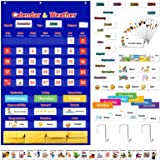 """Classroom Calendar Pocket Chart with 160 Cards, 43.9""""x 27.5""""School Calendar for Kids Learning,Monthly Calendar and Weather Po"""
