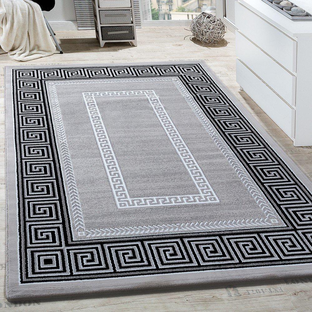 Paco Home Teppich Wohnzimmer Bordüre Ornament Muster Abstrakt Design Meliert Grau, Grösse 160x230 cm