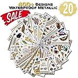 Temporäre Tattoos Kinder (Waterproof), 20 Blatt Gold Henna Tattoo Farbe, (400+ Designs, Klebetattoos Erwachsene) Festival Ausrüstung, Festival Armbänder für Frauen, Mädchen, Erwachsene, Kinder