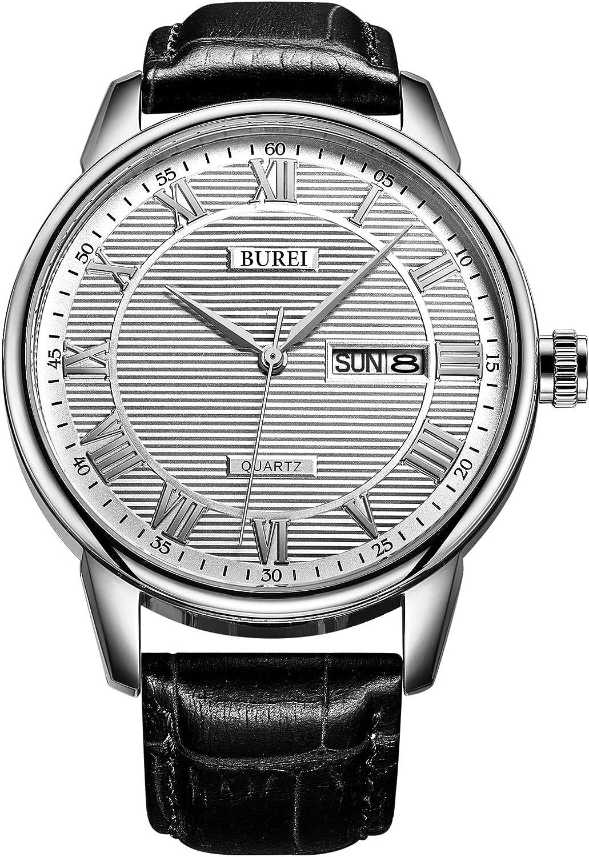 BUREI Men s Watch Simple Roman Numerals and Stripes Style Surface wear-Resistant Leather Strap and Quartz Movement