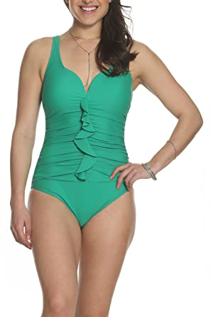 ce593951481c4 Sun and Sea Woodstock Classic Ruffle Front One Piece Swimsuit with Underwire  Support and Molded Bra