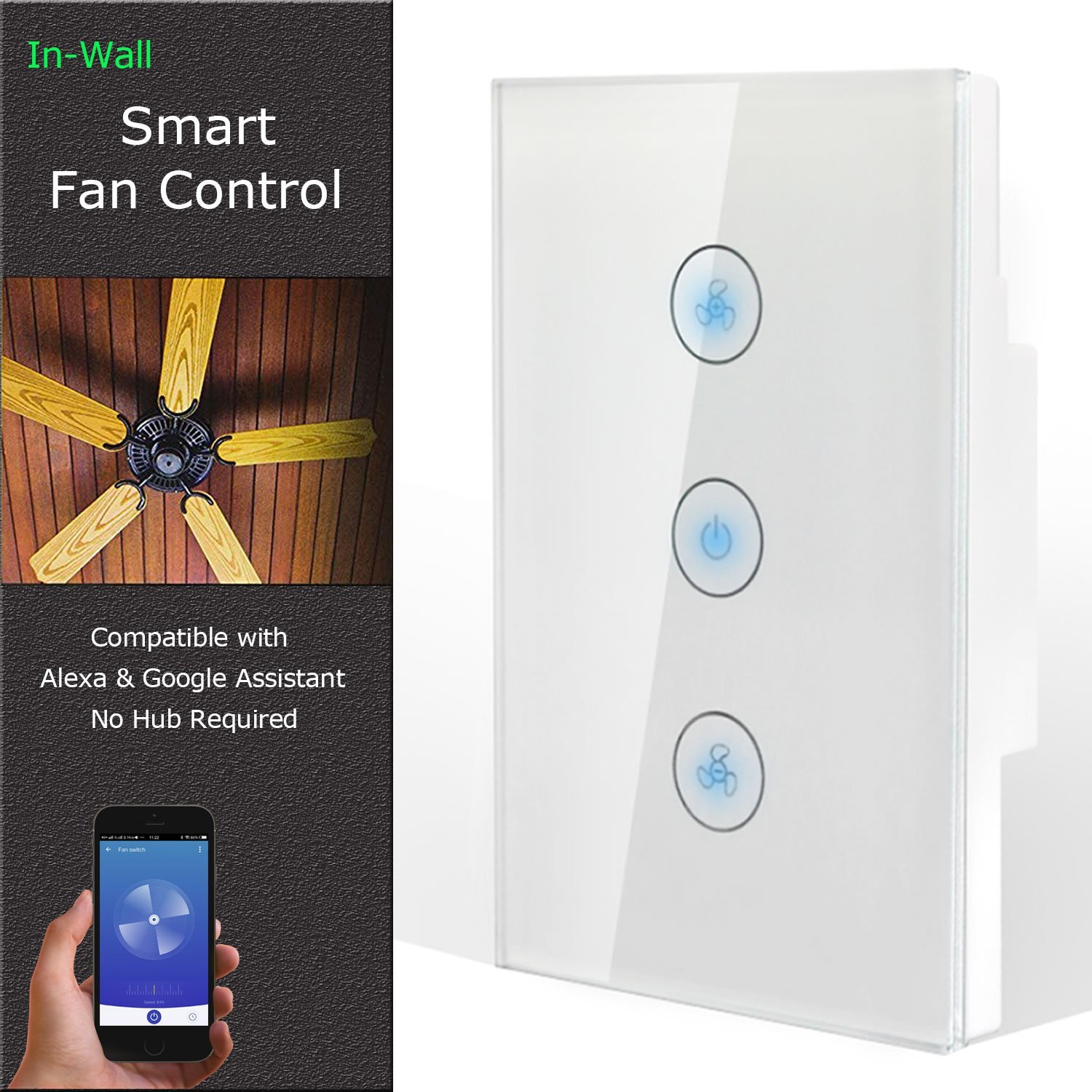 Cool Auto Smart Fan Speed Control Compatible with Alexa and Google Assistant, IFTTT, WiFi Enabled Variable Ceiling Fan Switch, in Wall, Touch Panel, No Hub Required