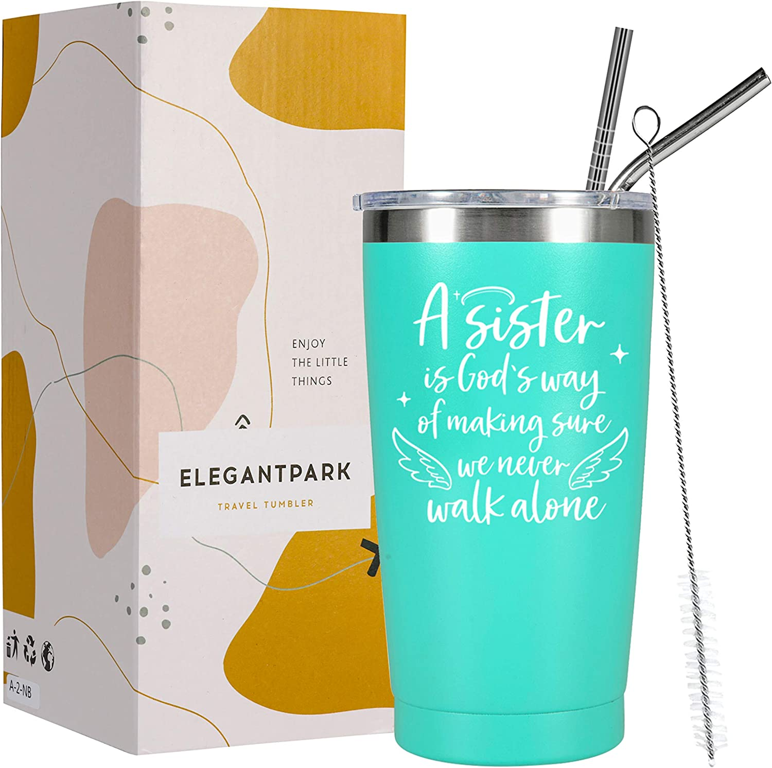 ElegantPark Sister Gifts from Sister Personalized Mint Coffee Tumbler Funny Friendship Gifts Graduation Birthday Christmas Leaving Gifts for Soul Sister Insulated Wine Tumbler with Lid 20 oz