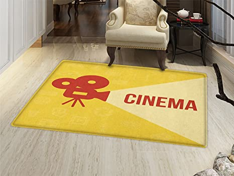Movie Theater Door Mat Outside Projector Silhouette With Cinema Quote Symbols Background Bathroom For