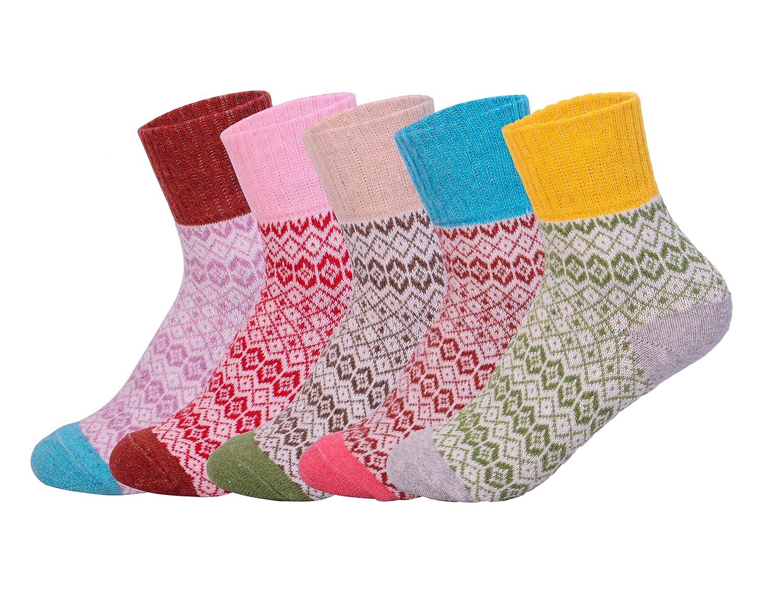 Cute Cotone calzini, Oliked calzini termici vari disegni / Colori adulti Donna Calzini 5 paia/EU 35-40 Oliked Cute Cotone calzini OKSOWM001