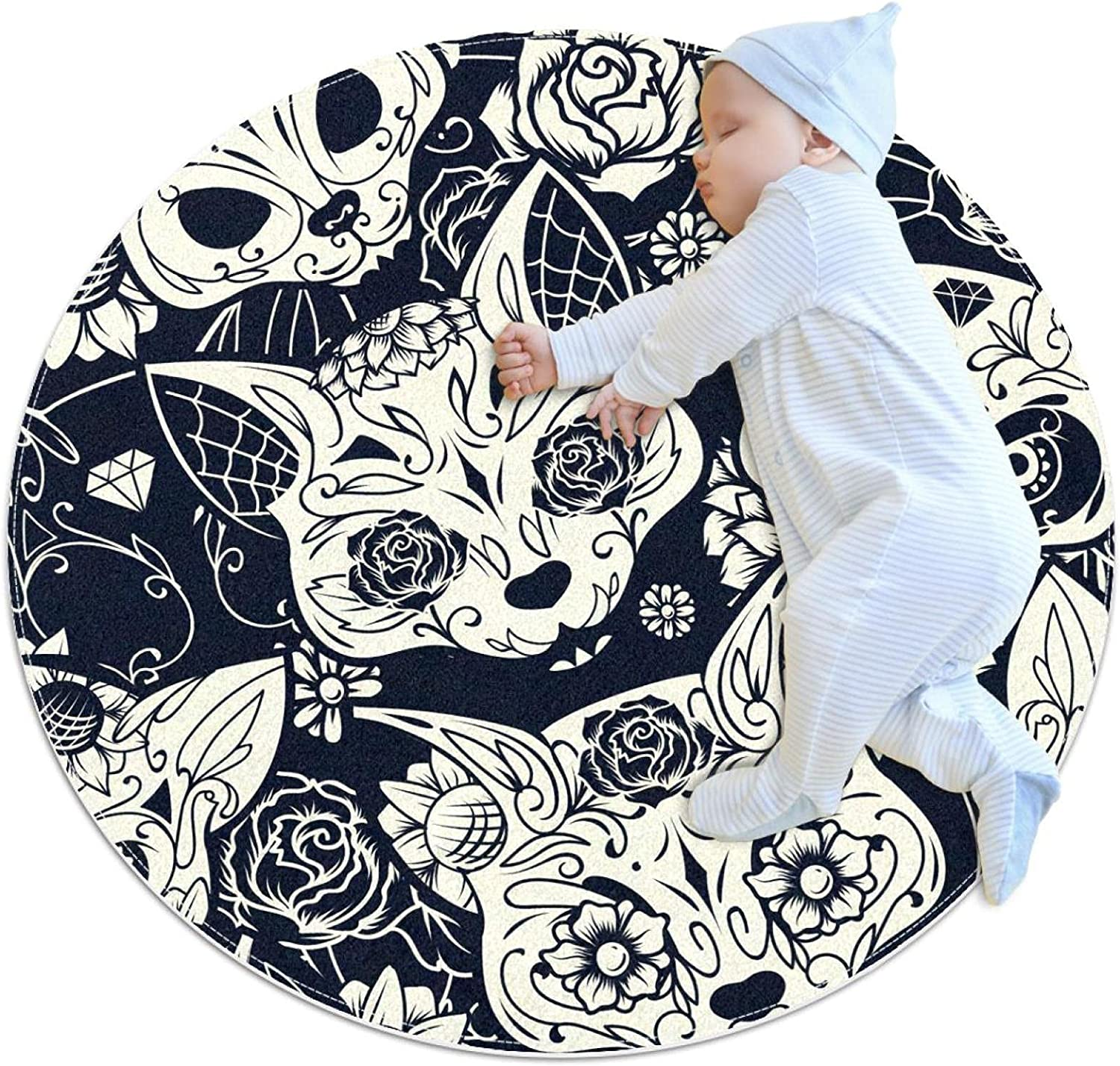 Area Rugs for Bedroom, Ultra-Luxurious Soft and Thick Non-Slip Carpet for Kids Baby Room, Nursery Modern Decor Rug 2.3Ft, Sugar Cat Skull with Flower Animal