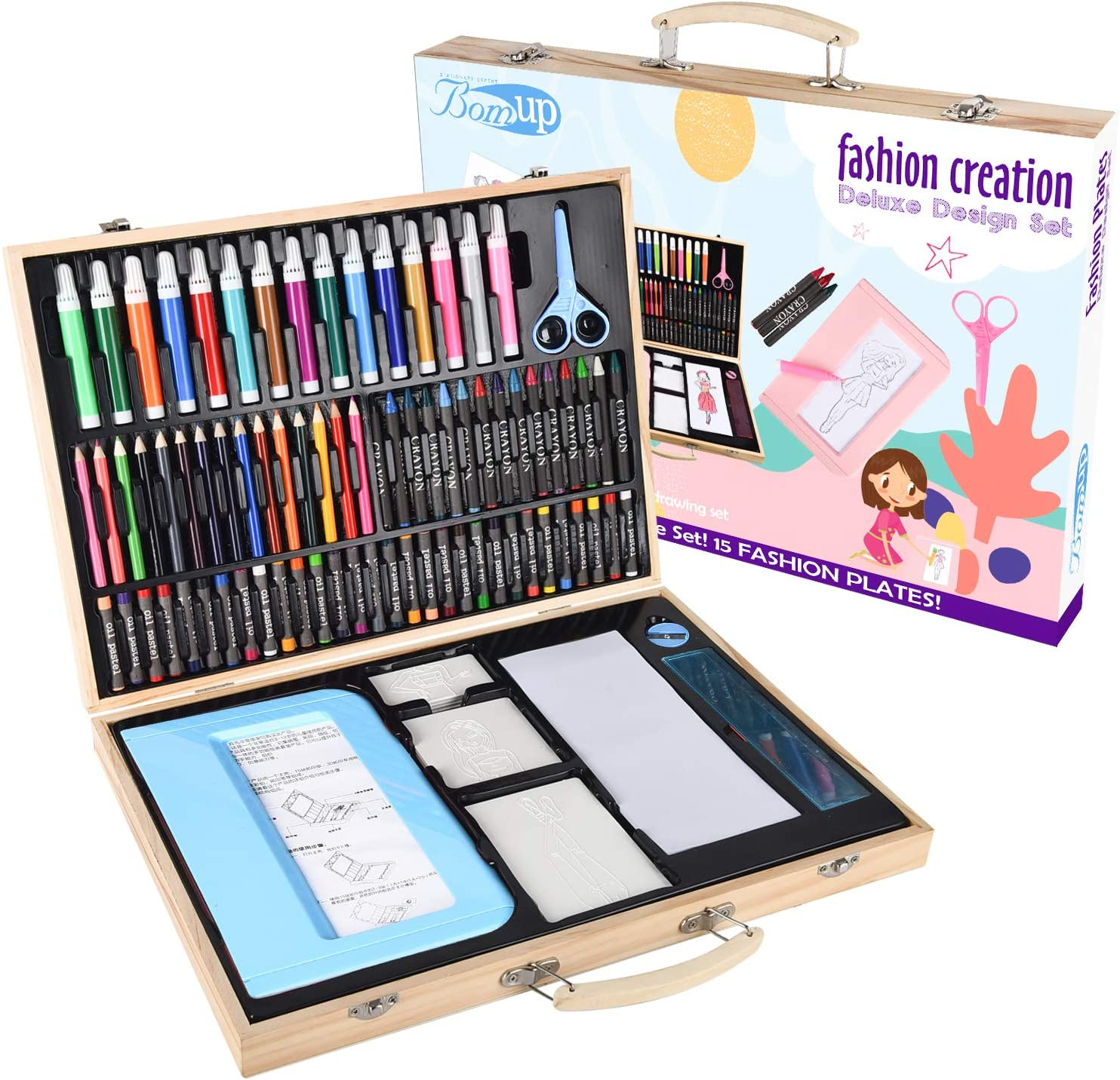 Amazon Com Fashion Plates Designer Kits 129 Piece Deluxe Kit Rubbing Plate Activity Kit Drawing Set In Wooden Case Arts Crafts 15 Double Sided Plates 75 Colored Pencils Rubbing Crayon Gift For Girls Blue