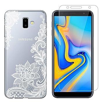 Funda Samsung Galaxy J6 Plus Flor Blanca Suave TPU Silicona Anti-rasguños Protector Trasero Carcasa para Samsung Galaxy J6 Plus 2018 (6.0 Pulgada) con ...