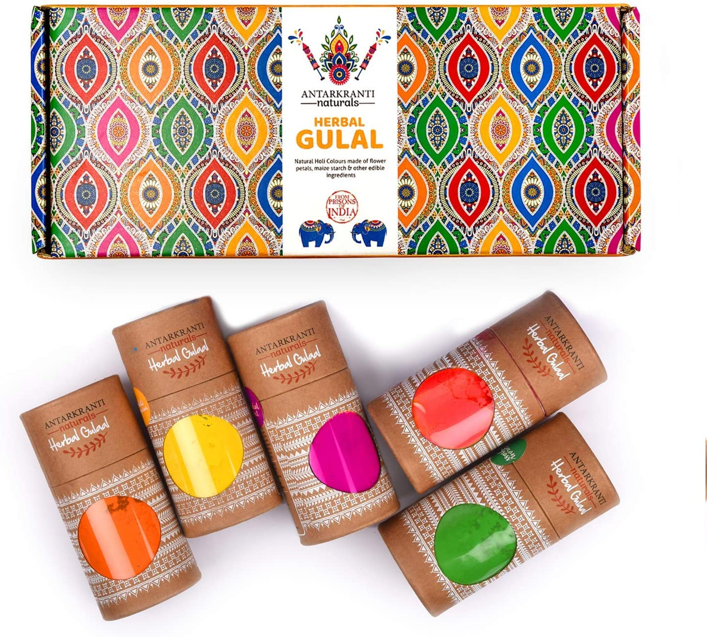 Naturals Tesu Flower, Rose Petals, Marigold, Sandalwood, Maize Starch, Food Colour, Orange, Yellow, Red, Pink, Blue and Green Hand-Made Herbal Gulal Pack of 5 (100gm x 5)