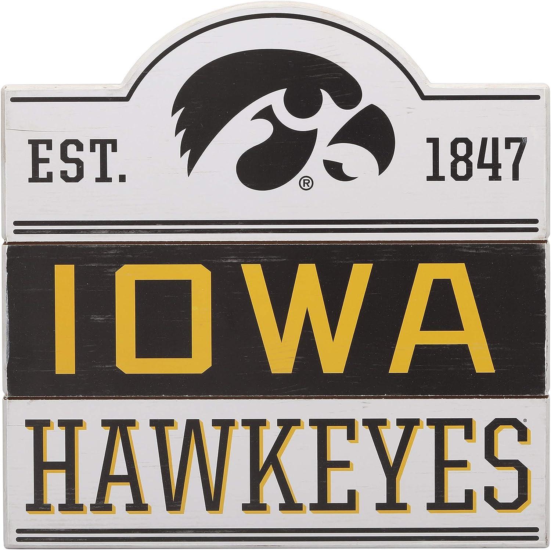 Open Road Brands University of Iowa Hawkeyes Bump Planked Wood Wall Decor