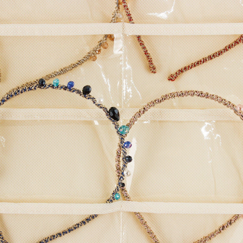 bracelet avec syst/ème de fixation collier Armoire//sac//organiseur de rangement /à double face avec 40/poches /& 20/onglets triangulaire pour boucles doreilles bague