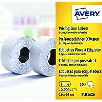 Avery Boîte de 10 rouleaux de 1200 Etiquettes Autocollantes Amovibles pour Etiqueteuse 2 lignes - 16x26mm - Blanc (PLR1626)