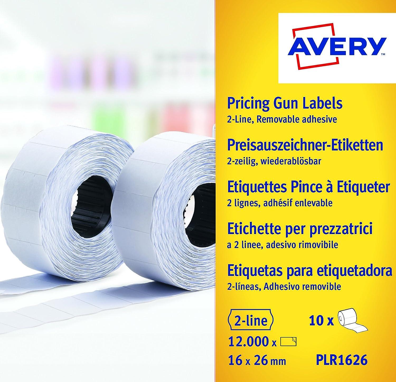 Avery PLR1626 Etichette per Prezzatrice, 2 Linee, Rimovibili, 1200 Etichette per Rotolo