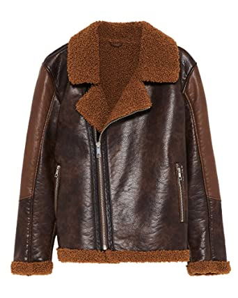 baaf8a8e Zara Men Contrasting Biker Jacket 8178/305 at Amazon Men's Clothing ...