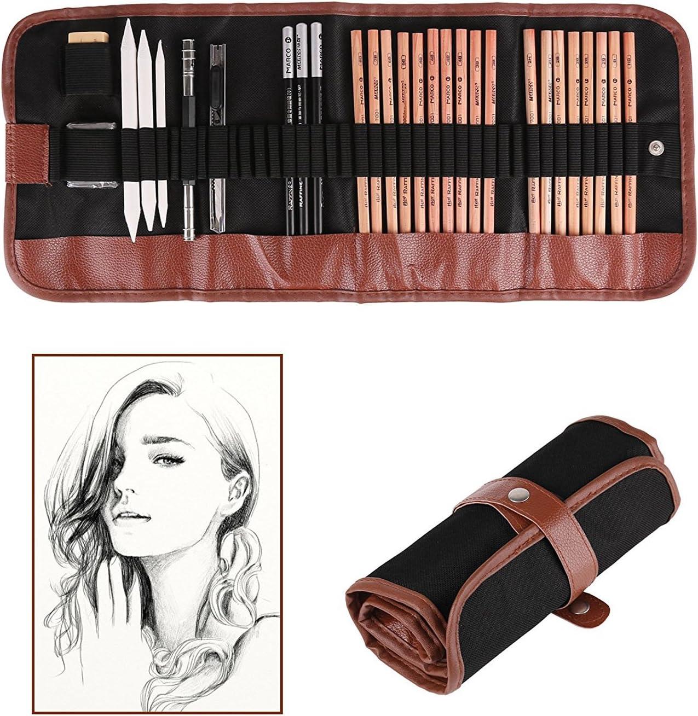 Profesional lápices para bocetos Lápices de dibujo con borrador Crayones Lápices de papel Lápiz cuchillo de corte para principiantes Esbozar dibujo Pintura (paquete de 18): Amazon.es: Oficina y papelería