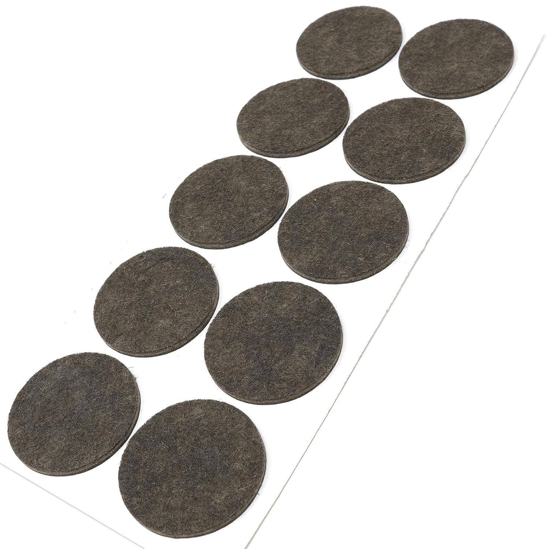 10 x almohadillas de fieltro, Ø 45 mm, redondas, marrón, autoadhesivas, de la máxima calidad (3.5 mm) Adsamm FP-35-SA-BR