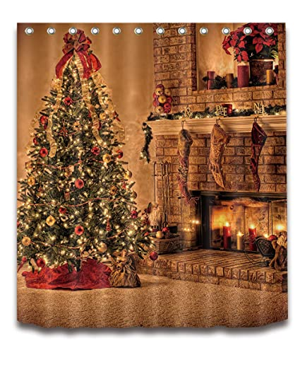 Western Christmas Tree Decorations.Lb Vintage Christmas Shower Curtain Retro Classic Western Christmas Holiday Celebration Decor Christmas Tree Shower Curtain For Bathroom Waterproof