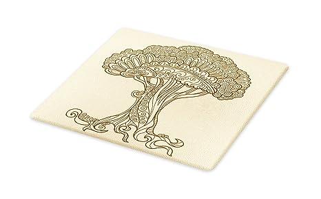 2b43d38eea8d1 Amazon.com: Lunarable Tree of Life Cutting Board, Henna Doodle Tree ...