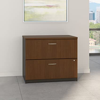 Bush Business Furniture Series A 36W Lateral File Cabinet In Sienna Walnut  And Bronze