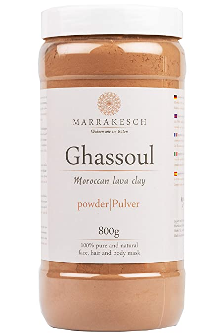 Ghassoul Rhassoul Polvo 800g | Arcilla roja marroquí para usar como mascarilla para la limpieza facial | Peeling natural para la cara y el cabello | ...