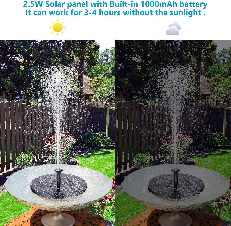 VITCOCO Fuente Solar con Bateria, 2.5 W Flotante Kit Bomba Agua Sumergible Solar, Fuente Solar para Jardin, Estanque, Pajaros: Amazon.es: Jardín