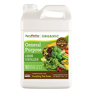 AgroThrive All Purpose Organic Liquid Fertilizer - 3-3-2 NPK (ATGP1320) (2.5 Gal) for Lawns, Vegetables, Greenhouses, Herbs and Everything Else that Grows