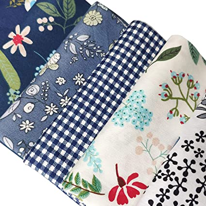 Misscrafts 7PCS Dandelion Flower Printed Fat Quarters 46cmx56cm Cotton Fabric Sewing Crafting Fabric Bundles