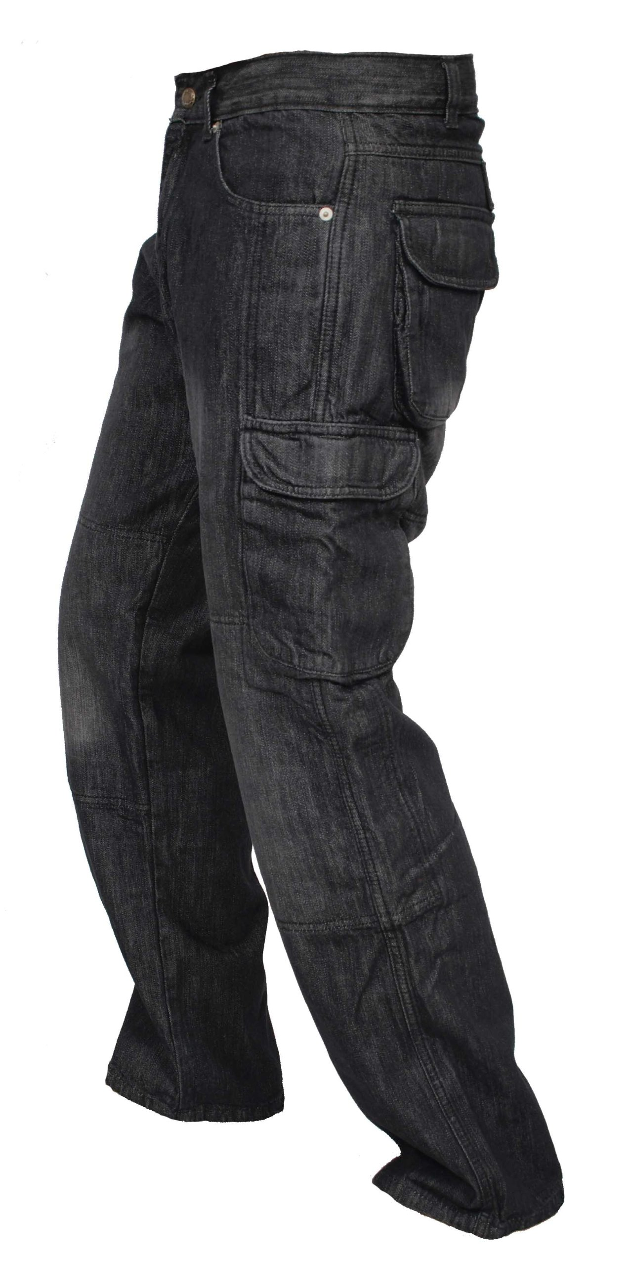 Newfacelook Denim Cargo Motorbike Sports Jeans Aramid Protection Lining I-102 Black