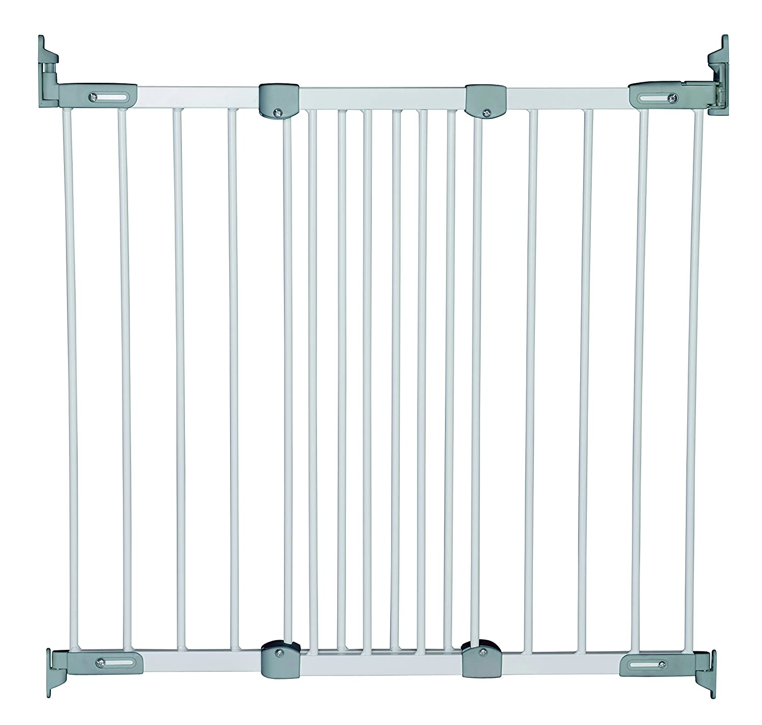 BabyDan Super Flexi Fit Extending Metal Safety Gate (White/Silver) 55114-2700-10-75