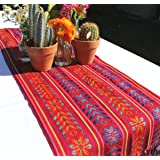 Del Mex Woven Rebozo Style Mexican Table Runner Scarf (Red)