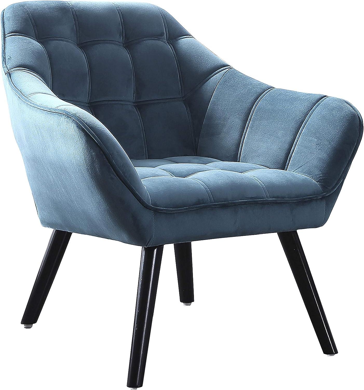 Adec - Olden, Sofa Individual de una Plaza, Sillon Descanso una 1 Persona, butaca Acabado Tejido Color Verde Aguamarina, Patas Negras, Medidas: 83 cm (Largo) x 75 cm (Ancho) x 77 cm (Alto)