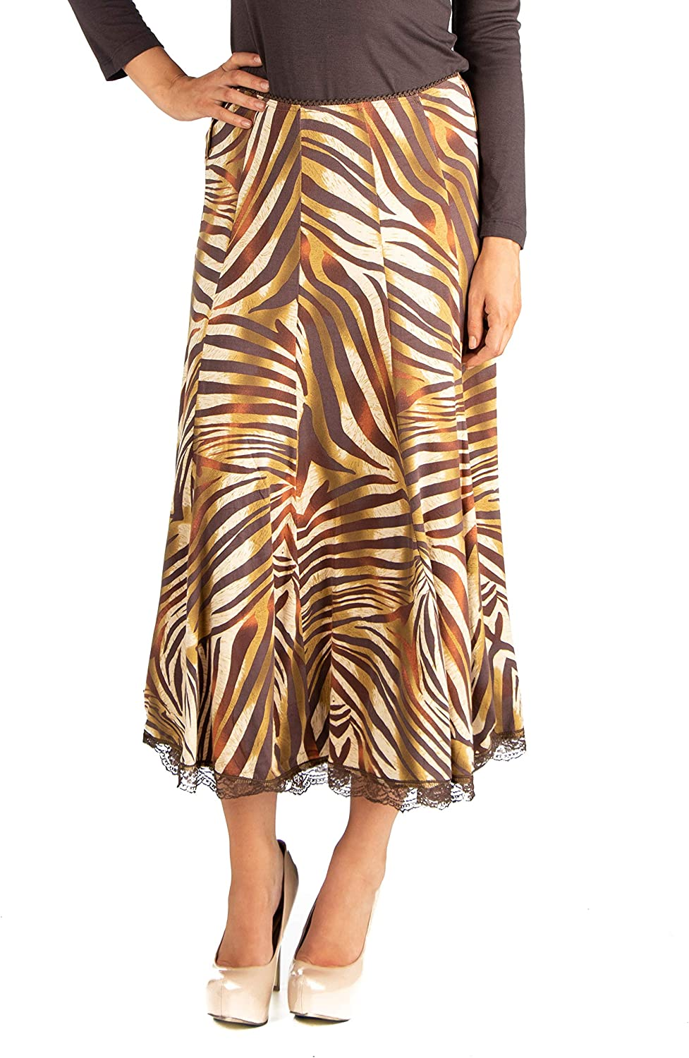 24seven Comfort Apparel Women's Clothes Zebra Print Paneled Midi Skirt - Made in USA - Large - Brown/Beige