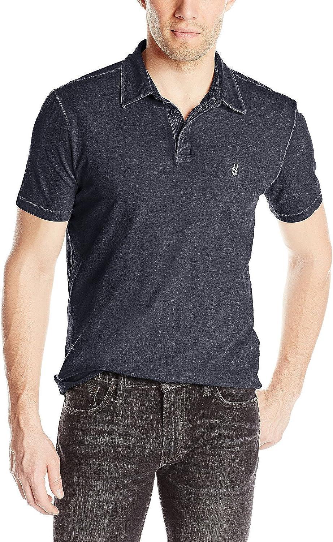 John Varvatos Star USA Men/'s Short Sleeve Peace Sign Polo Shirt Shark Grey