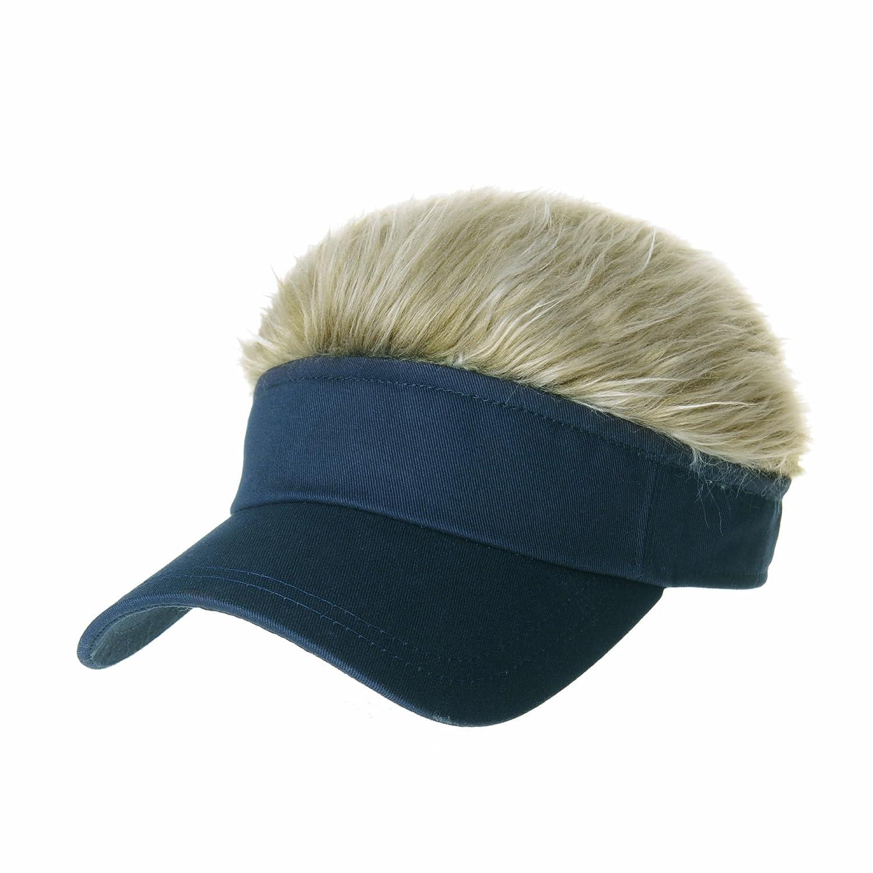 73b66ec0ba0 Amazon.com  WITHMOONS Flair Hair Sun Visor Cap with Fake Hair Wig Novelty  KR1588 (Black)  Clothing