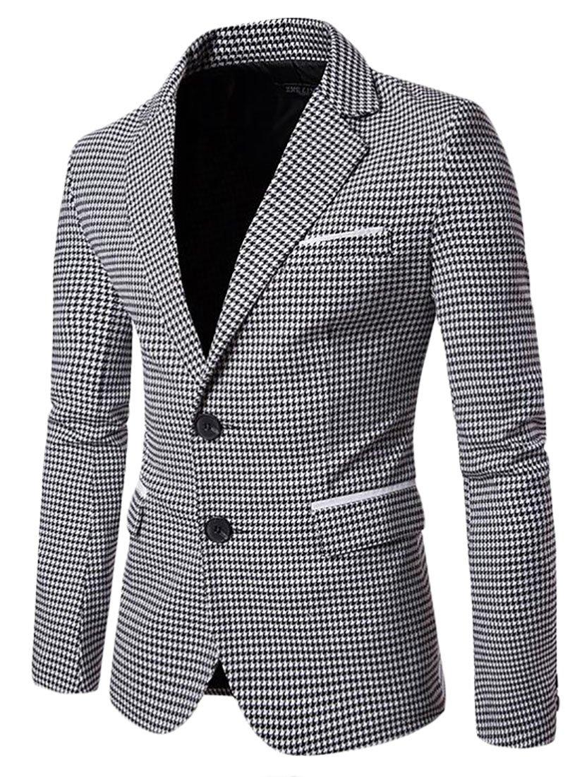 ARRIVE GUIDE Mens Slim Two Button Houndstooth Lapel Suit Blazer Jacket Coat