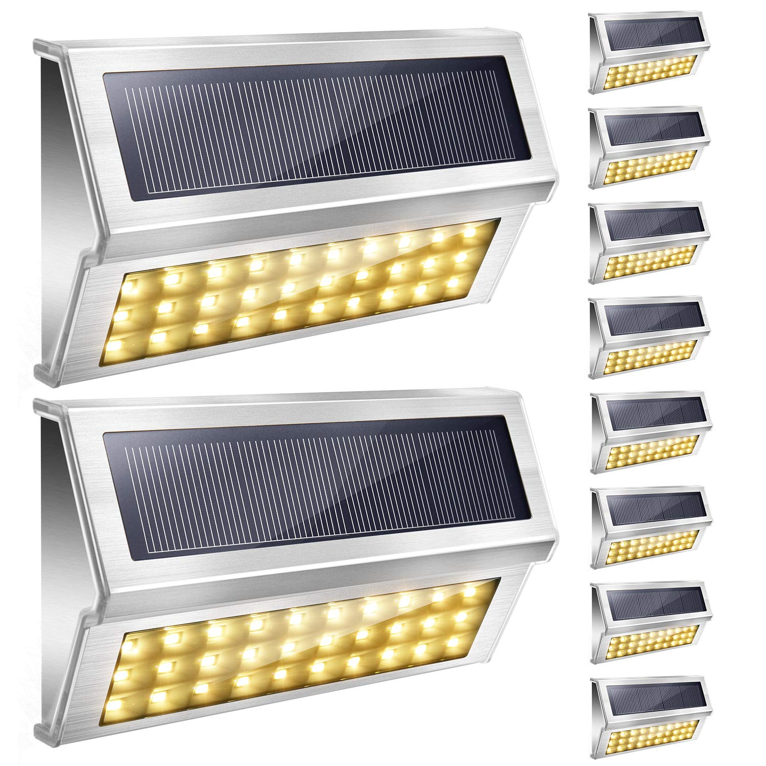 Upgraded 30 LED Solar Step Lights JACKYLED Outdoor Solar Stair Lights Waterproof Solar Powered Deck Lights Stainless Steel 3000K Warm Light Security Lights for Path Fence Patio Wall Dock 10-Pack
